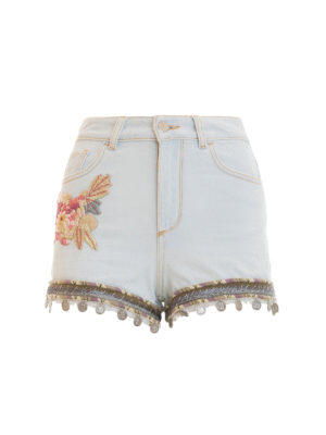 Amen: Trousers Shorts - Embroidered denim shorts