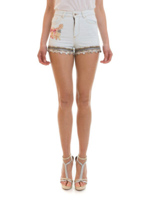 Amen: Trousers Shorts online - Embroidered denim shorts