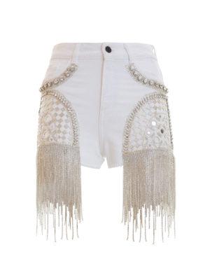 Amen: Trousers Shorts - Rhinestone cascade shorts
