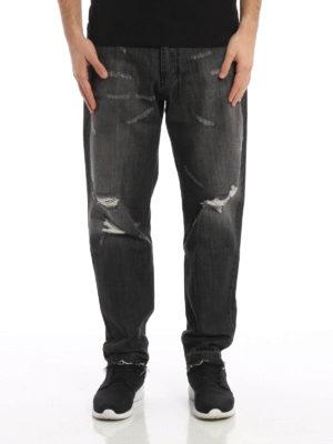 Ami Alexandre Mattiussi: straight leg jeans online - Ripped faded denim carrot fit jeans