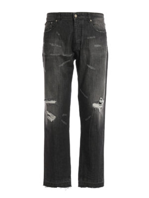 Ami Alexandre Mattiussi: straight leg jeans - Ripped faded denim carrot fit jeans