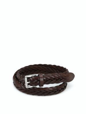 Anderson's: cinture - Cintura con fibbia pelle marrone intrecciata