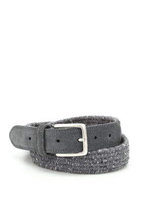 Anderson's: belts - Melange grey woven fabric belt