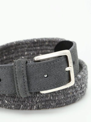 Anderson's: belts online - Melange grey woven fabric belt