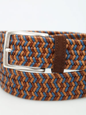Andrea D'Amico: belts online - Two-tone braided leather belt