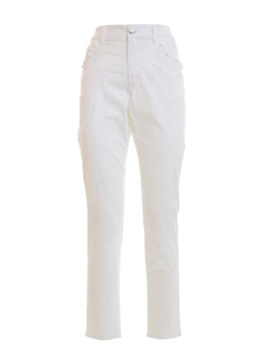 Angelo Marani: straight leg jeans - Baroque print denim jeans