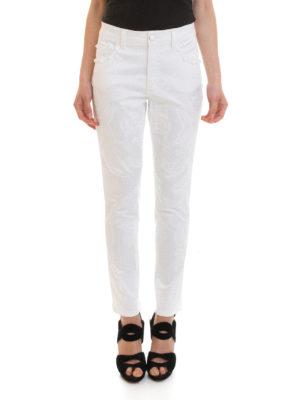 Angelo Marani: straight leg jeans online - Baroque print denim jeans