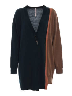 ANTONIO MARRAS: cardigan - Cardigan oversize in lana a blocchi di colore