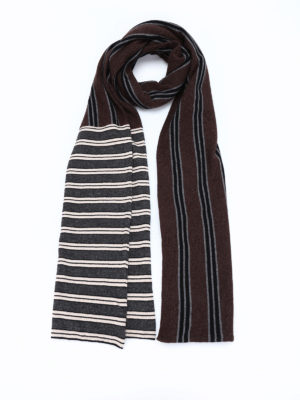 Antonio Marras: scarves - Striped knitted wool scarf