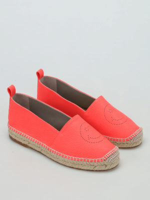 Anya Hindmarch: espadrilles online - Smiley fluo leather espadrilles