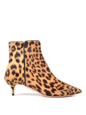 Aquazzura: ankle boots - Quant Leo print calf hair booties