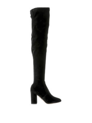 Aquazzura: boots - So Me stretch velvet boots