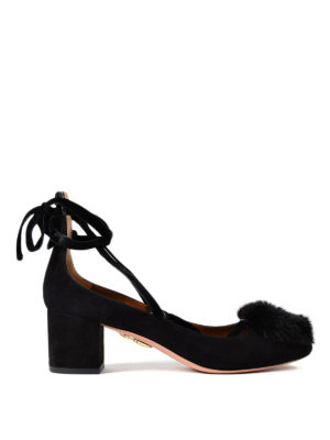 Aquazzura: court shoes - In Love fur pompom suede pumps