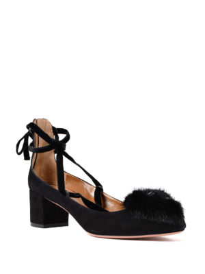 Aquazzura: court shoes online - In Love fur pompom suede pumps