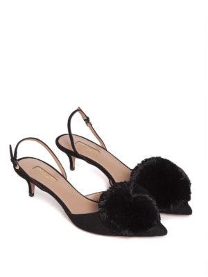 Aquazzura: court shoes online - Powder Puff pompom slingbacks