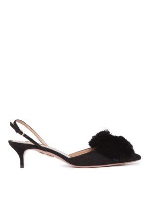 Aquazzura: court shoes - Powder Puff pompom slingbacks