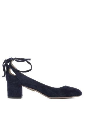 Aquazzura: court shoes - Trinity suede pumps