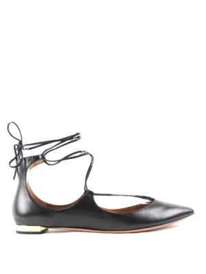 Aquazzura: flat shoes - Christy leather flats