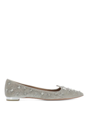 Aquazzura: flat shoes - Cosmic Star velvet flats