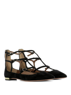 Aquazzura: flat shoes online - T-straps suede pointy ballerinas