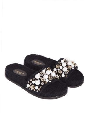 Aquazzura: flip flops online - Bon Bon embellished sponge slides