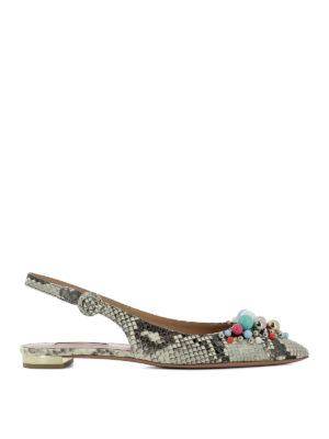 Aquazzura: sandals - Leather python print shoes