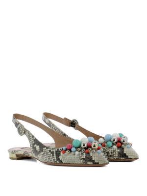Aquazzura: sandals online - Leather python print shoes