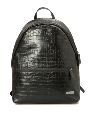 Armani Collezioni: backpacks - Croco print black leather backpack