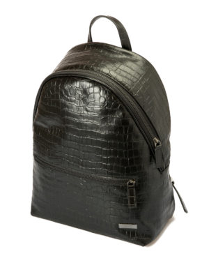 Armani Collezioni: backpacks online - Croco print black leather backpack