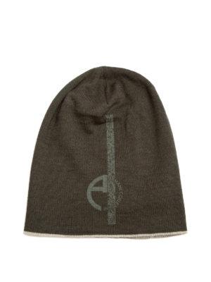 Armani Collezioni: beanies - Logo print knitted wool beanie