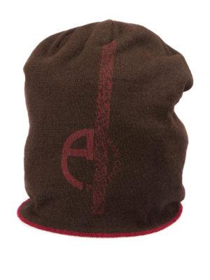 Armani Collezioni: beanies - Logo print wool blend beanie