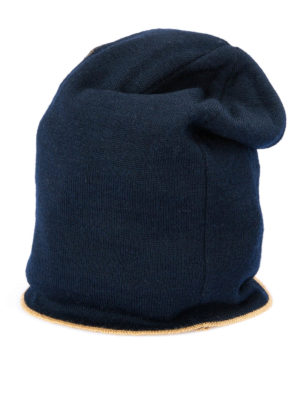 Armani Collezioni: beanies online - Logo print wool blend beanie