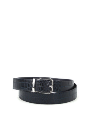 Armani Collezioni: belts - Croco print leather reversible belt