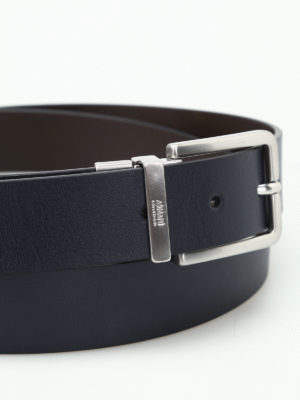 Armani Collezioni: belts online - Blue and brown reversible belt