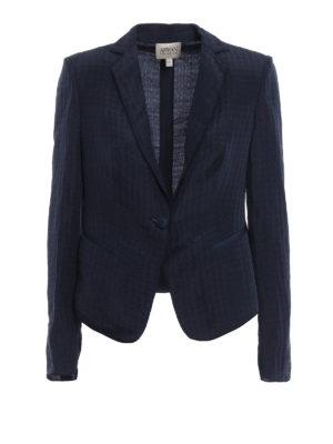 Armani Collezioni: blazers - Linen silk blend jacquard blazer