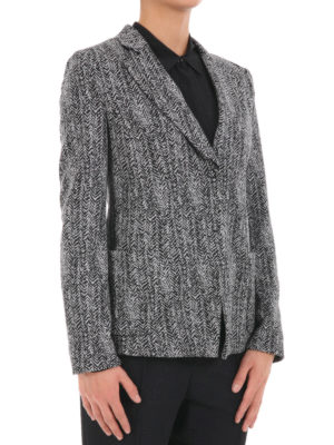 Armani Collezioni: blazers online - Herringbone jersey blazer