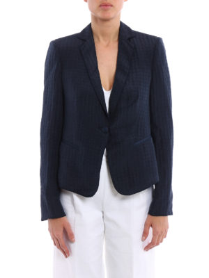 Armani Collezioni: blazers online - Linen silk blend jacquard blazer