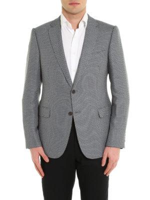 Armani Collezioni: blazers online - Micro houndstooth wool blazer