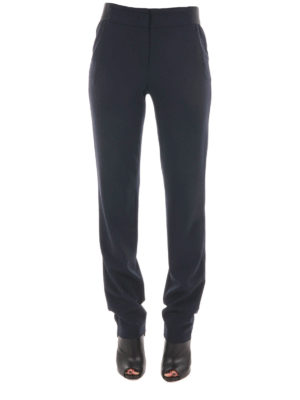 Armani Collezioni: casual trousers online - Stretch wool loose trousers