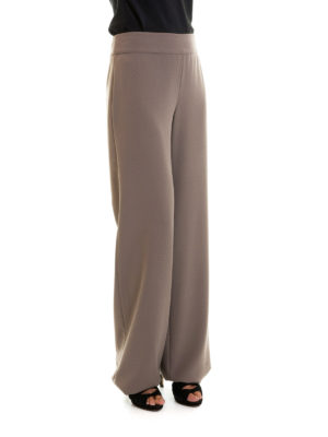 Armani Collezioni: casual trousers online - Wide leg crepe cady trousers