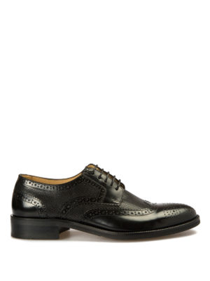 Armani Collezioni: classic shoes - Derby brogue detailed leather shoes