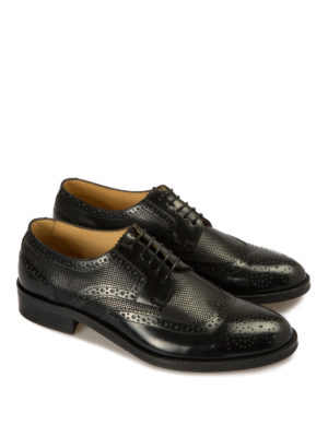 Armani Collezioni: classic shoes online - Derby brogue detailed leather shoes