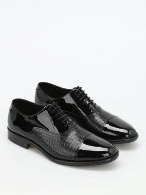 Armani Collezioni: classic shoes online - Textured patent leather Derby shoes