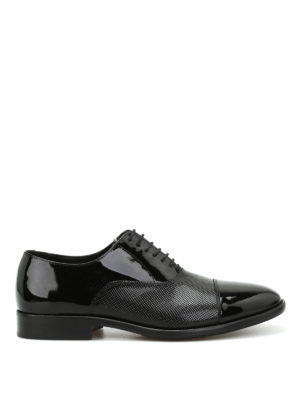 Armani Collezioni: classic shoes - Textured patent leather Derby shoes