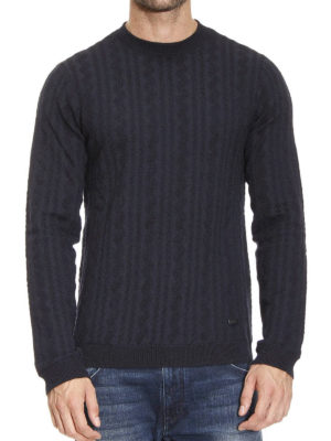 Armani Collezioni: crew necks online - Ribbed wool blend sweater