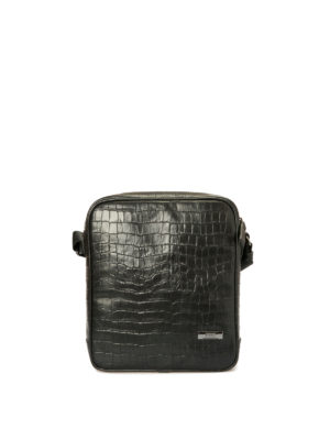 Armani Collezioni: cross body bags - Croco print black leather crossbody