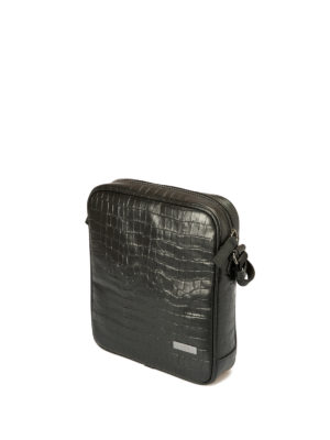 Armani Collezioni: cross body bags online - Croco print black leather crossbody