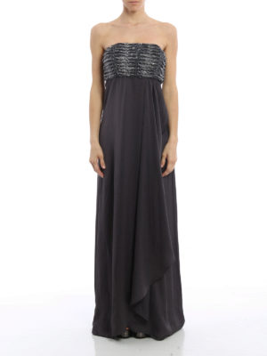 Armani Collezioni: evening dresses online - Embellished top strapless gown