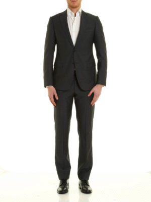 Armani Collezioni: formal suits online - Micro pattern virgin wool suit