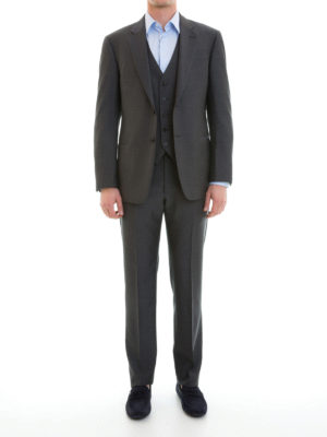 Armani Collezioni: formal suits online - Wool jacquard three-piece suit